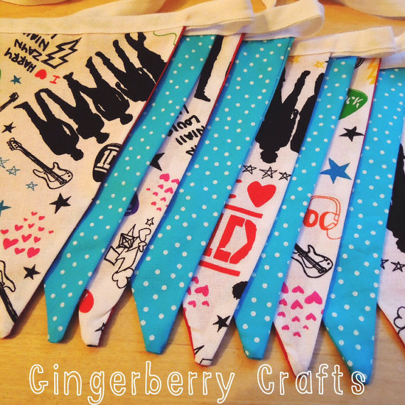 One Direction Bunting - with Aqua Spotty Fabric
