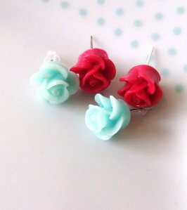 red aqua rose earrings