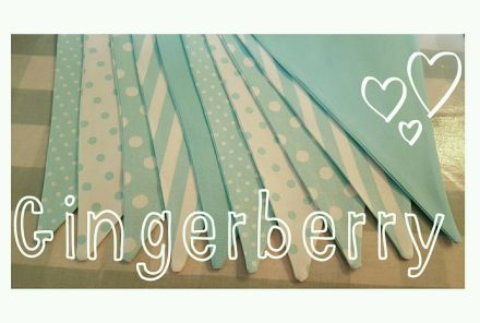 Gingerberry Mint Aqua Bunting with spots, dots stripes and plain.