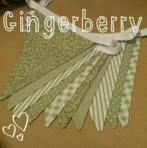 Gingerberry Crafts - mixed sage green and white shabby chic bunting